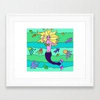 mermaid Framed Art Prints featuring Mermaid by Linda Tomei