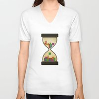 tetris V-neck T-shirts featuring tetris by gazonula