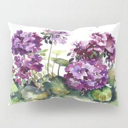 Purple violet pelargonium geranium flowers watercolor Pillow Sham