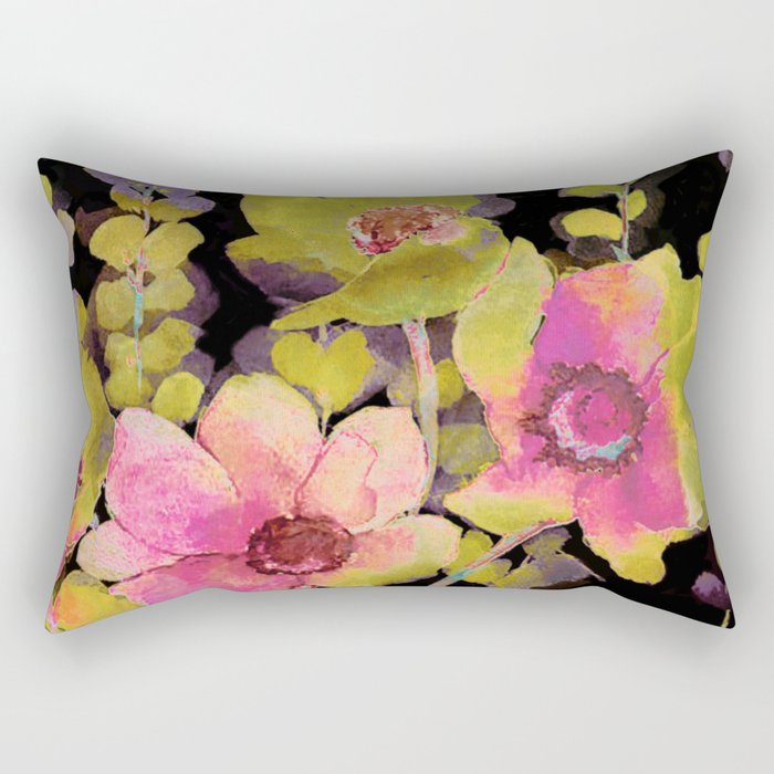 pink flowers and foliage on black Rectangular Pillow