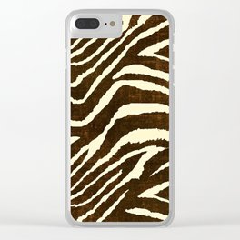 ZEBRA IN WINTER BROWN AND WHITE Clear iPhone Case