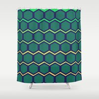 hexagon Shower Curtains featuring hexagon by vidikay