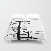 telephone Duvet Covers featuring Telephone Line by PoseManikin