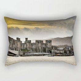 Sunset at Conwy Castle, North Wales Rectangular Pillow