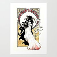 art nouveau Art Prints featuring Art Nouveau by Alexandra Banti