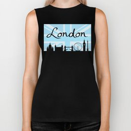 London Script on Union Jack Sky & Sites Biker Tank