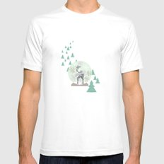 Reindeer Snowglobe Mens Fitted Tee White MEDIUM
