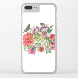 Spring Flowers and butterfly with Quote in latin Clear iPhone Case