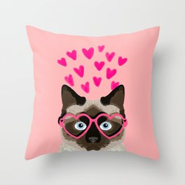 Siamese Cat valentines day gift for cat lady love heart romantic kitten pet friendly present for her Throw Pillow