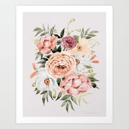 Muted Peonies and Poppies Art Print