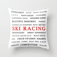 ski Throw Pillows featuring Ski Racing by BACK to THE ROOTS