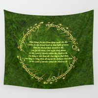 lord of the rings Wall Tapestries featuring THE LORD OF THE RINGS by Bilqis