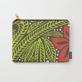 Polynesian flower floral green red tattoo design Carry-All Pouch