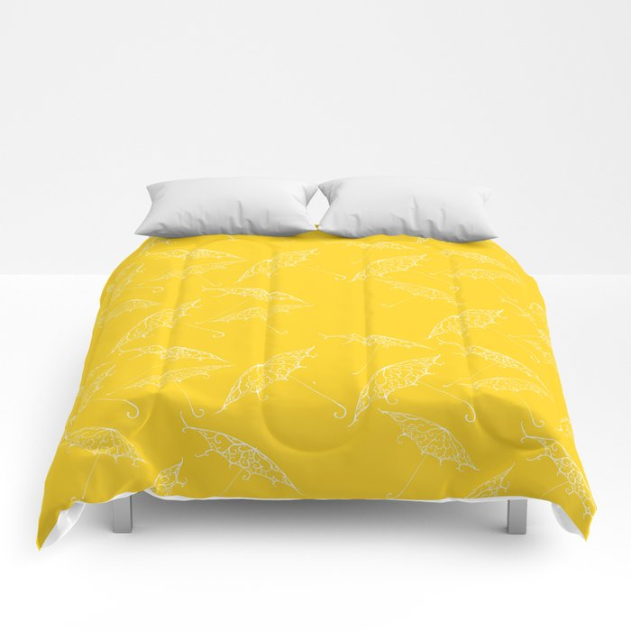 Yellow Summer Beach Bliss Umbrella Pattern Comforters