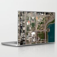 chicago map Laptop & iPad Skins featuring Chicago by Mark John Grant