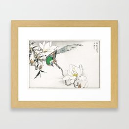 Chinese Tree Pipit and Magnolia illustration from Pictorial Monograph of Birds (1885) by Numata Kash Framed Art Print