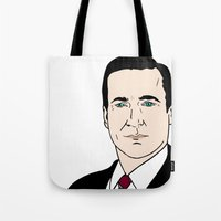 mad men Tote Bags featuring Don Draper - Mad Men by Aishling K