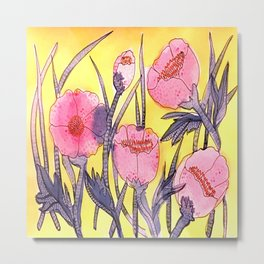 Fever Flowers - pink navy white yellow Metal Print