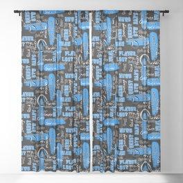 Gamer Lingo-Black and Blue Sheer Curtain