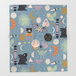 Lunar Pattern: Blue Moon Throw Blanket