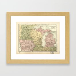 Map of the American Midwest (1873) Framed Art Print