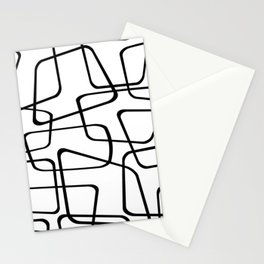 Mid Century Black And White Pattern Stationery Cards