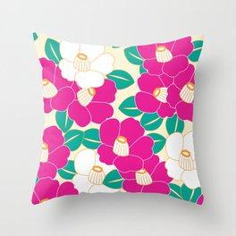 Shades of Tsubaki - Pink & White Throw Pillow