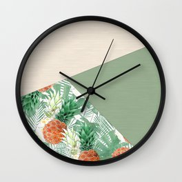 Combined pattern with pineapples. patchwork. Wall Clock