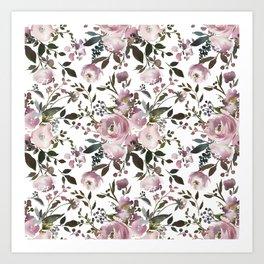 Vintage Soft Pink Blossom on White Art Print