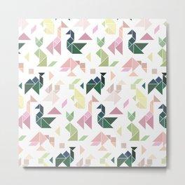 Pastel Tangrams Pattern Metal Print
