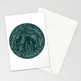 Botanical Elephant Block Print - textured green circle Stationery Cards