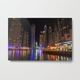 Dubai Marina water reflections Metal Print