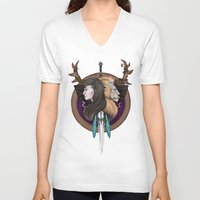 warcraft V-neck T-shirts featuring Lions! Make You Brave by Emily Anne Daugherty