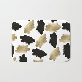 Modern black faux gold abstract brushstrokes Bath Mat