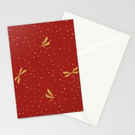 Gold Dragonfly Christmas seamless pattern and Gold Confetti on Red Background Stationery Cards