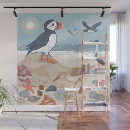 Coastal Birds By The Sea Wall Mural