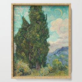 Cypresses by Vincent van Gogh Serving Tray