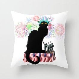 Lady Liberty - Patriotic Le Chat Noir Throw Pillow