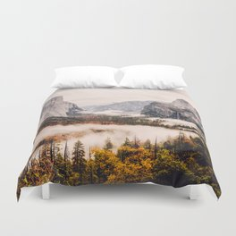 Amazing Yosemite California Forest Waterfall Canyon Duvet Cover