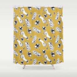 Gold Crystal Claw Pattern Shower Curtain