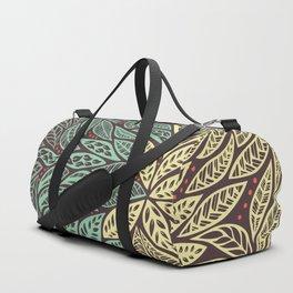 Polynesian Tribal Tattoo Green and Yellow Floral Retro Design Duffle Bag