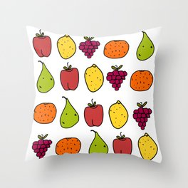Fruits in a Line Throw Pillow