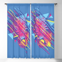 Pineapple with colorful geometric elements retro style design Blackout Curtain