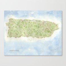 Puerto Rico watercolor map Canvas Print