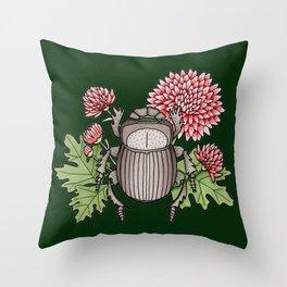 Beetle with Chrysanthemum - Dark Green Throw Pillow