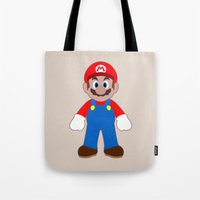 sticker Tote Bags featuring Sticker Mario by Rebekhaart