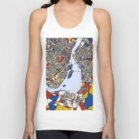 montreal Tank Tops featuring montreal map mondrian by Mondrian Maps