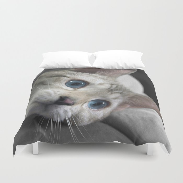 The Blue Ice in the Snow Bengal Cat's Eyes Duvet Cover