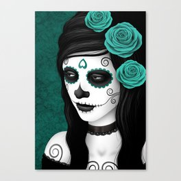 Day of the Dead Sugar Skull Girl with Teal Blue Roses Canvas Print