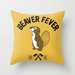 Beaver Fever - Black and White Throw Pillow
